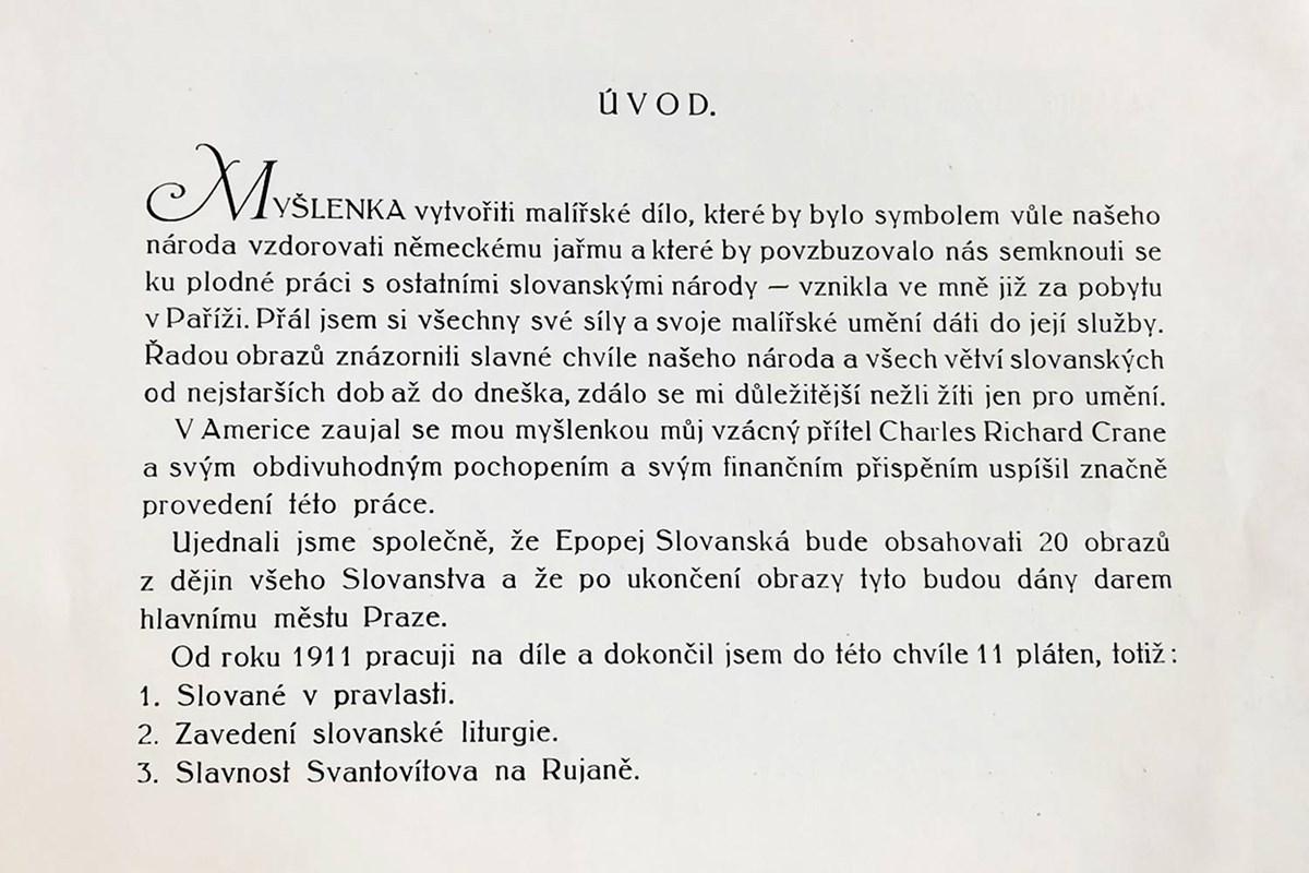 První publikace o Slovanské epopeji