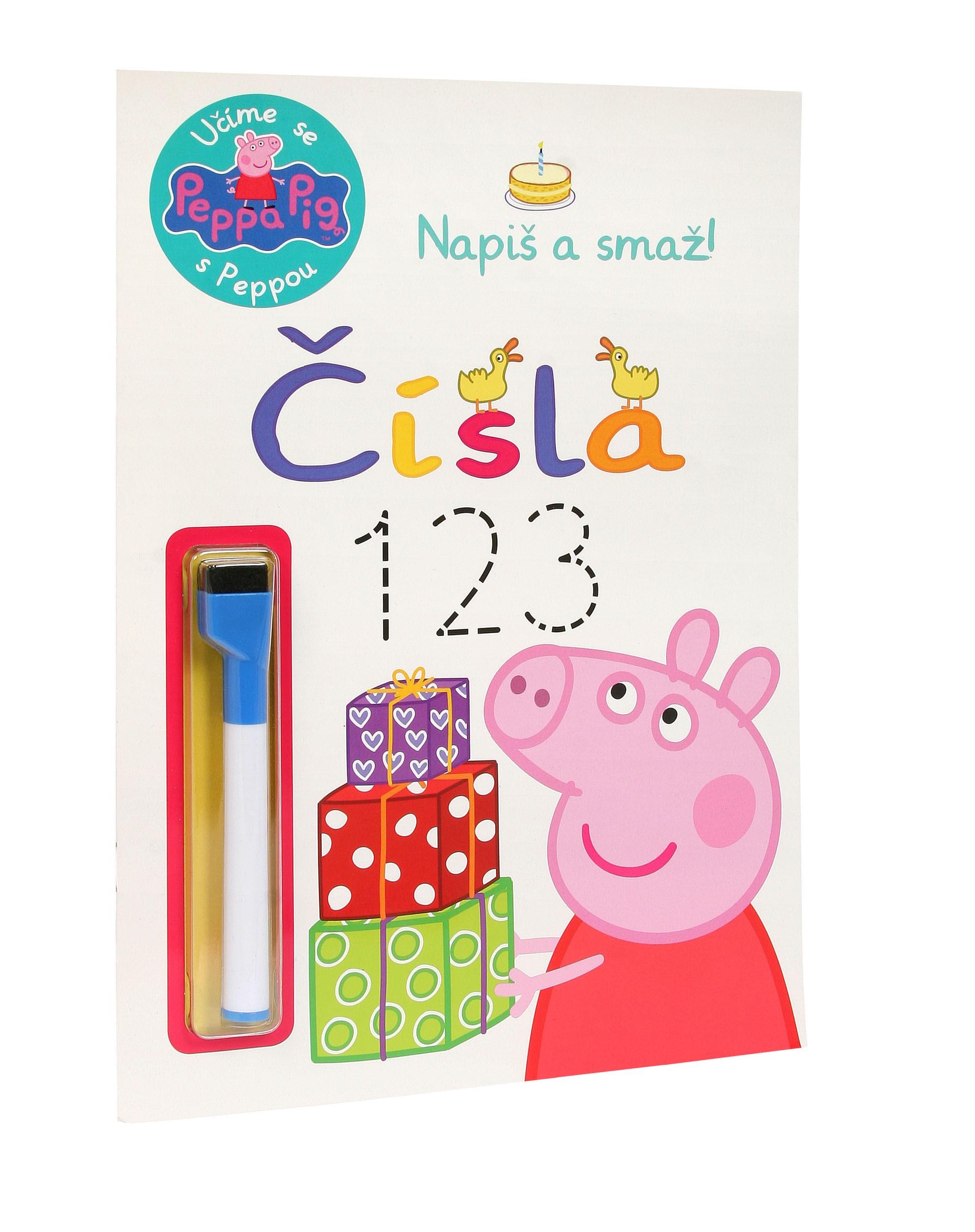 Peppa Pig - Učíme se s Peppou - Napiš a smaž! Čísla |