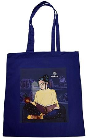 Knihomolka Hedvika začtená – plátěná taška